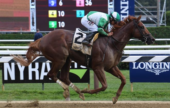 Mr. Buff winning the Evan Shipman at Saratoga this summer. (Photo courtesy of NYRA)
