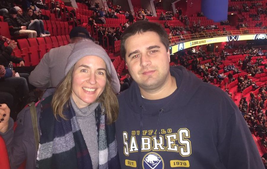 Nicolas Dantinne and Jessica Miclotte of Namur, Belgium traveled to see the Sabres play Saturday in Ericsson Globe (Mike Harrington/Buffalo News).