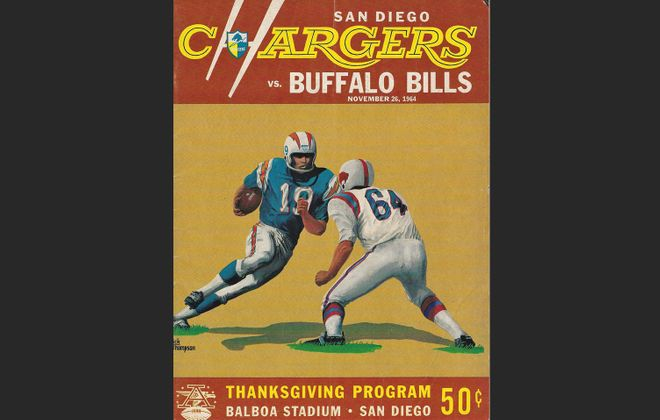 The program from the 1964 Bills vs. Chargers Thanksgiving Day game, in San Diego. (Courtesy John Boutet)