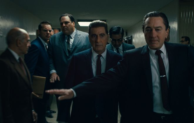 "Martin Scorsese's ""The Irishman"" will open in two local independent theaters – the Dipson Amherst and North Park – before it streams on Netflix. Pictured are Al Pacino as Jimmy Hoffa, center, and Robert De Niro as Frank Sheeran. (Photo courtesy of Netflix)"