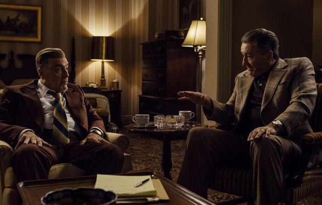 "Jimmy Hoffa (Al Pacino) and Frank Sheeran (Robert De Niro) debate Hoffa's next move in ""The Irishman."" (Photo courtesy of Netflix)"