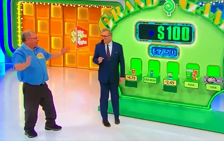 "Robert, a contestant on ""The Price Is Right,"" entertained Drew Carey with his ""pop!"" proclamation and went on to win the Showcase Showdown. (Screenshot of tweet by @BUFFALO_LOSS)"