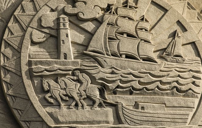 Detail of a concrete cast of the Buffalo City Seal adorning the southern face of the Walter J. Mahoney State Office Building in Niagara Square, Friday, Sept. 13, 2019. (Derek Gee/Buffalo News)