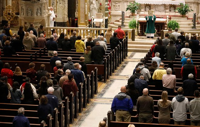 Mass at Our Lady of Victory Basilica in Lackawanna on Oct. 13, 2019. (Derek Gee/Buffalo News)