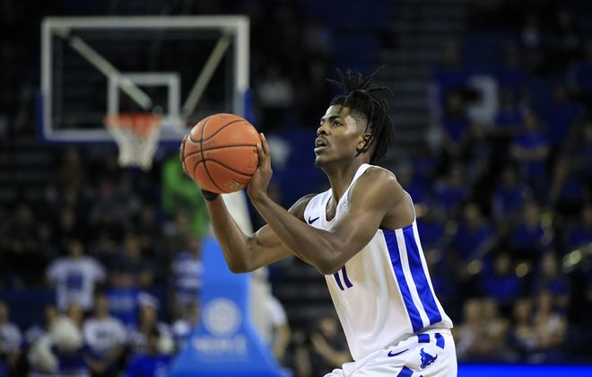 University at Buffalo player Jeenathan Williams shoots against Nazareth during the second half at Alumni Arena on Monday, Nov. 11, 2019. (Harry Scull Jr./Buffalo News)
