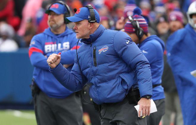 Bills head coach Sean McDermott cheers on his team against Washington (James P. McCoy/Buffalo News file photo)