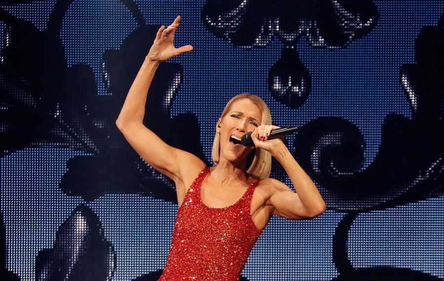 Celine Dion's performance at KeyBank Center was filled with her patented large gestures that added to the drama of her performance. (Sharon Cantillon/Buffalo News)