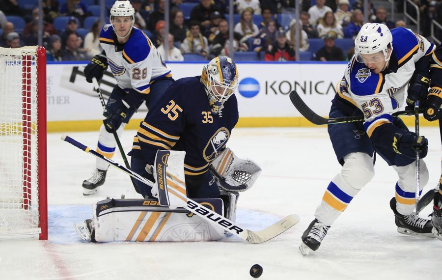 Linus Ullmark beat the Blues on Dec. 10 in Buffalo but couldn't repeat the win Thursday in St. Louis. (Harry Scull Jr./News file photo)