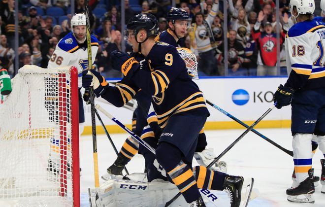 Buffalo Sabres Jack Eichel scores against the St. Louis Blues during the third peiod at the KeyBank Center, on Tuesday, Dec. 10, 2019.  (Harry Scull Jr./Buffalo News)