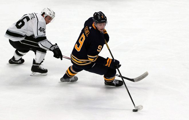 Sabres' Jack Eichel skates with the puck as Los Angeles Kings' Blake Lizotte covers him in second period action at KeyBank Center. (John Hickey/Buffalo News)