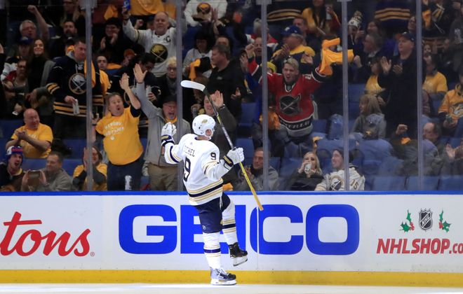 Buffalo Sabres Jack Eichel celebrates his first goal of the game against the Nashville Predators during the second period at the KeyBank Center on Thursday, Dec. 12, 2019.  (Harry Scull Jr./Buffalo News)