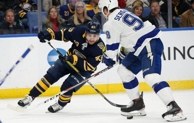Buffalo Sabres forward Conor Sheary (43) drives to the net with the puck against Tampa Bay Lightning defenseman Mikhail Sergachev (98) during the first period at KeyBank Center, Tuesday, Dec. 31, 2019. (Derek Gee/Buffalo News)