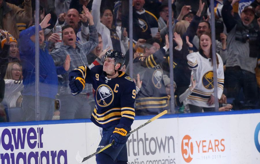 Buffalo Sabres captain Jack Eichel (9) celebrates his shorthanded goal against the Tampa Bay Lightning during the second period at KeyBank Center, Tuesday, Dec. 31, 2019. (Derek Gee/Buffalo News)