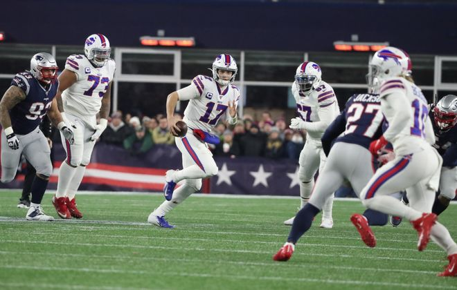 Josh Allen struggled with consistency against the Patriots. (James P. McCoy/Buffalo News)