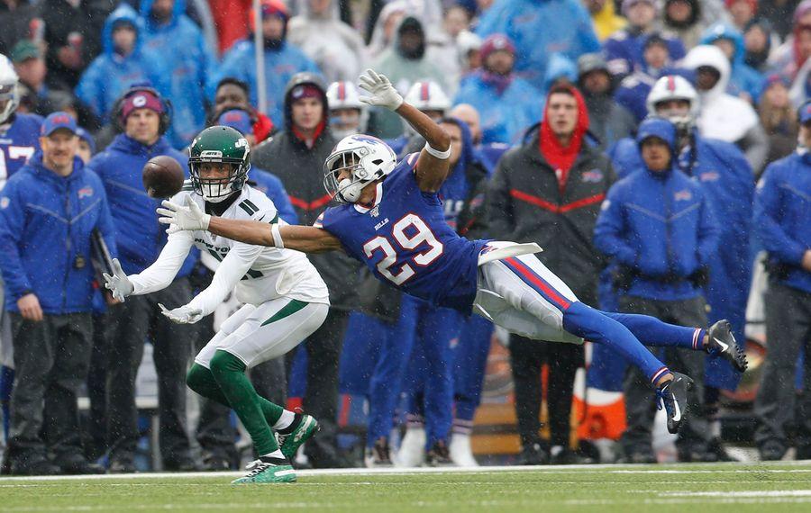 Bills cornerback Kevin Johnson dives to break up a pass against the New York Jets on Sunday. (Derek Gee/Buffalo News)