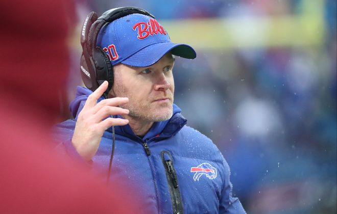 Bills coach Sean McDermott has plenty of previous experience in the playoffs. (James P. McCoy/Buffalo News)