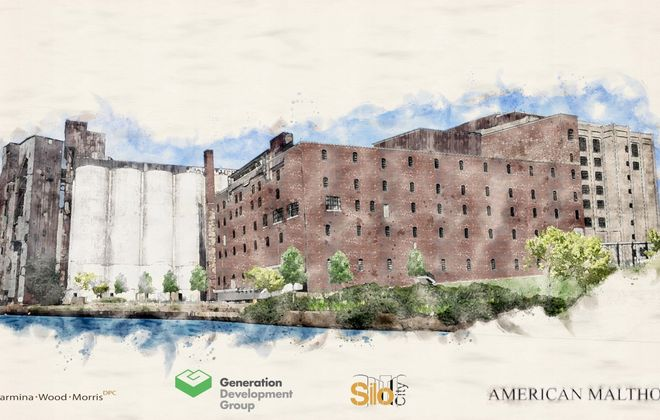 A rendering of the American Malthouse building at Silo City, after a proposed renovation. (Image courtesy of Generation Development)