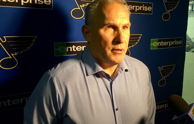 Craig Berube, coach of the Stanley Cup champion St. Louis Blues, speaks to reporters Tuesday in KeyBank Center (Mike Harrington/Buffalo News).