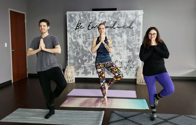 Be Embodied's Mindflow Yoga is a practice they developed that incorporates mindfulness and meditation into classic yoga routines. (Courtesy Nicole Chumsky)