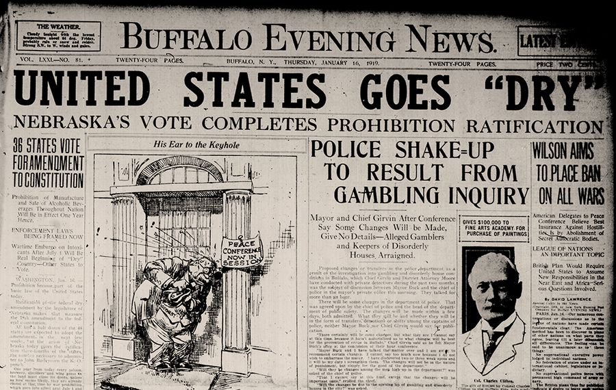 The front page from the day the Eighteenth Amendment was ratified. Prohibition went into effect one year later.  (Courtesy The Buffalo News)