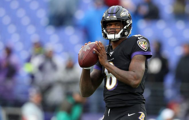 """Baltimore Ravens Quarterback Lamar Jackson is """"likely the most athletic player on the entire field anytime he steps on it,"""" said former Bills center Eric Wood, who had heard of the fellow Louisville alum long before his MVP-level performance this season. (Photo by Rob Carr/Getty Images)"""