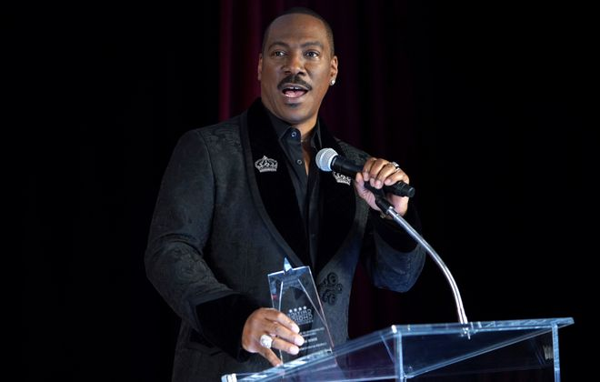 """Jeff Simon writes of Eddie Murphy, """"He's funny, script or not. He's engaging to listen to, script or not."""" (Photo by Randy Shropshire/Getty Images for the Celebration of Black Cinema)"""