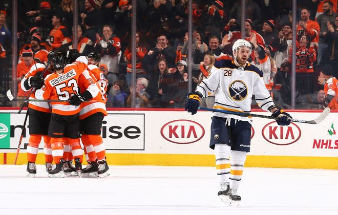 Zemgus Girgensons and the Sabres had to endure plenty of Flyers' goal celebrations Thursday night, like this one on Matt Niskanen's first-period tally (Getty Images).