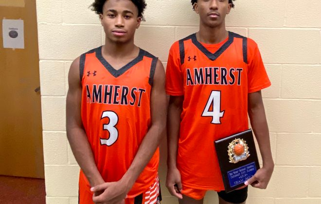 Amherst seniors Nick O'Neil and Jaylen Stewart combined for 57 points and made big plays down the stretch during the Tigers' 66-63 win at Niagara Falls in the 20th Cataract Classic on Friday, Dec. 6, 2019. (Jonah Bronstein/Staff)
