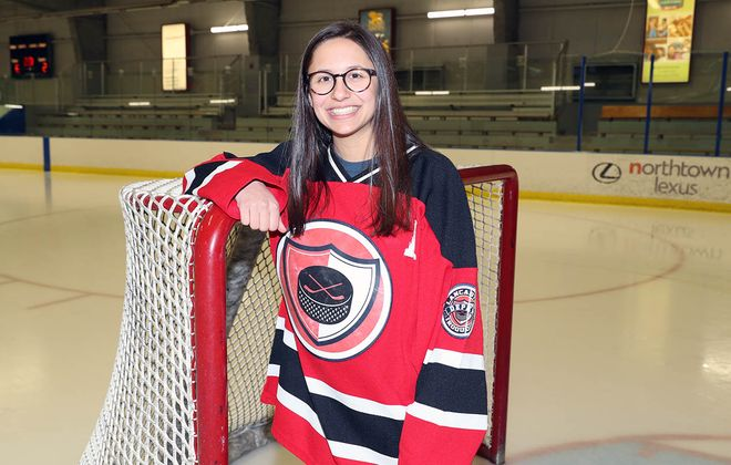Jersey Phillips poses for her All-Fed Ice Hockey photo in March 2019 at Northtown Center in Amherst. (James P. McCoy/Buffalo News)