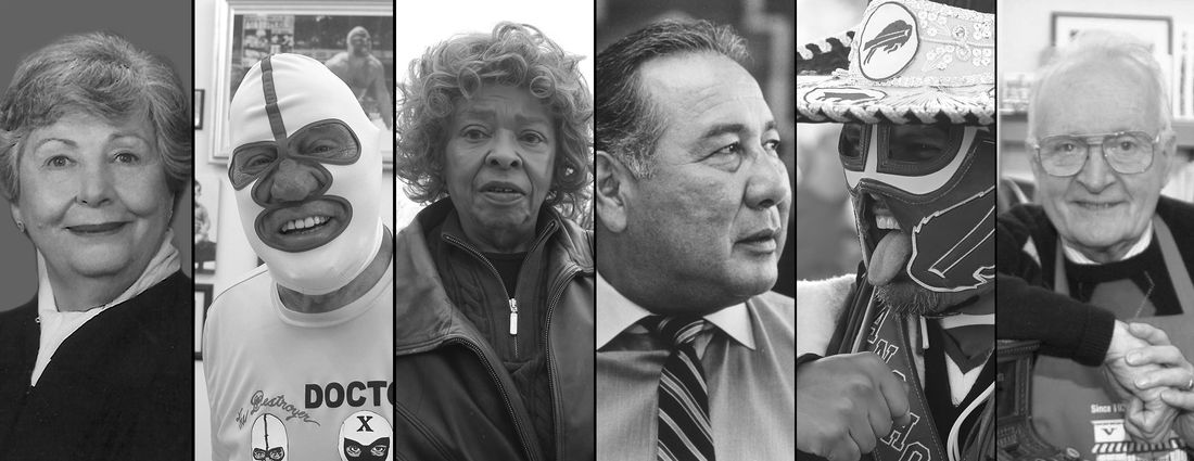 """From left, Rose LaMendola, Dick """"The Destroyer"""" Beyer, Blondine Harvin, Lloyd Elm, Pancho Billa and Ed Vidler were among the Western New Yorkers who died in 2019. (News file photos)"""