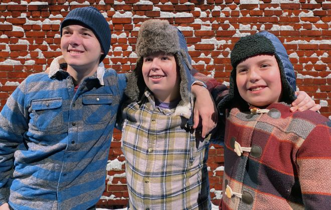 """The Fesmire brothers – Samuel, Isaac and Joel – are hilarious as the Pazinski brothers in MusicalFare Theatre's """"Christmas Over the Tavern."""" (Photo by Chris Cavanagh)"""