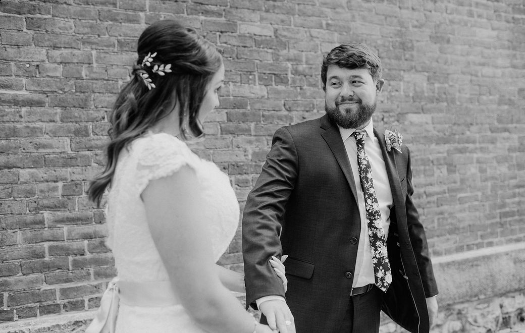 The first look was one of the only private moments Lauren shared with her husband-to-be James on their wedding day. (Ayres Photography)