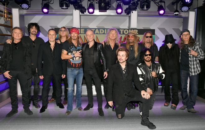 """Members of Mötley Crüe, Def Leppard and Poison were pictured announcing the 2020 """"Stadium Tour."""" The band's have postponed the tour, including the date at New Era Field, to 2021. (Getty Images)"""