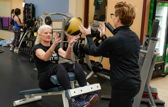 Mary Jane Hosmer is a regular at BAC for Women, spinning five days a week along with working out with a trainer. (Dave Jarosz)