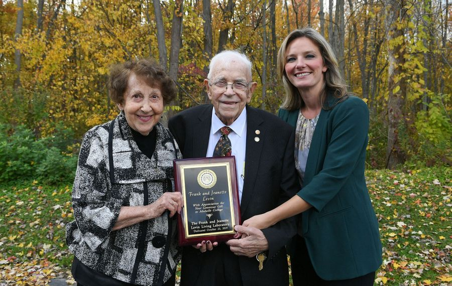 Jeanette and Frank Levin with Bernadette Clabeaux during a dedication ceremony honoring their donation. (Courtesy Nancy Parisi)
