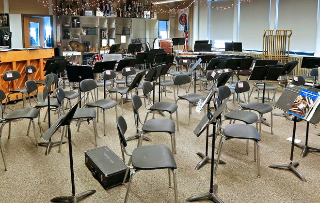 The empty band room in Hutchinson-Central Technical School  in 2017.  (Robert Kirkham/News file photo)