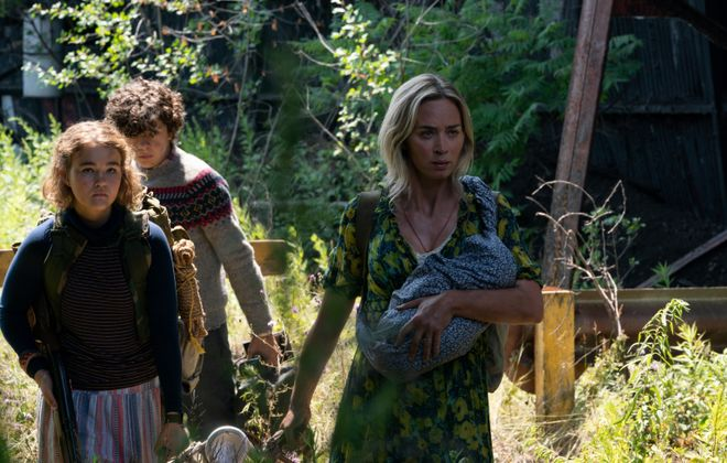 """This first image from """"A Quiet Place Part II"""" shows members of the Abbott family – Regan (Millicent Simmonds), left, Marcus (Noah Jupe) and Evelyn (Emily Blunt)."""" (Photo courtesy of Jonny Cournoyer/Paramount Pictures)"""