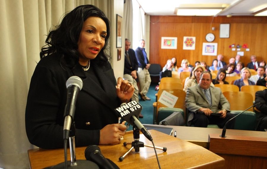 Suspended McKinley High School Principal Crystal Boling-Barton addresses the Buffalo School Board, which is now trying to fire her. (News file photo)