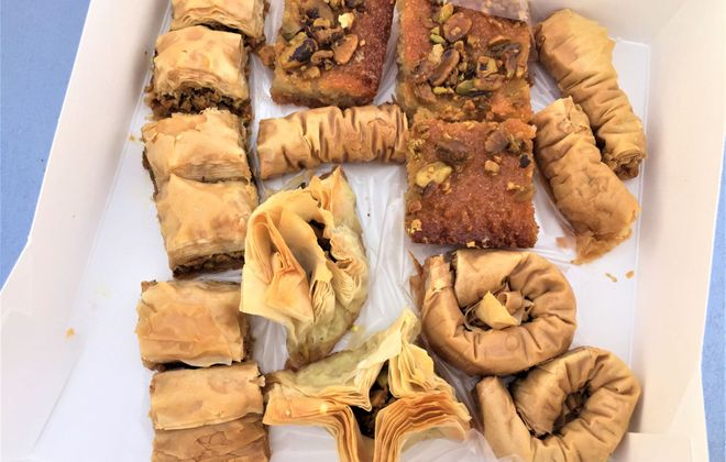 This is $8 worth of assorted baklava and Syrian pistachio cake at Fresh Arabic Sweets, 560 Amherst St. (Andrew Galarneau)