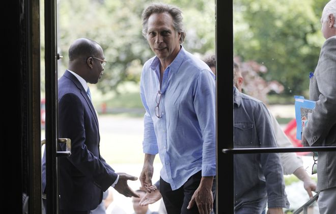 William Fichtner at the Buffalo History Museum in 2017 after being greeted by Buffalo Mayor Byron Brown. (Derek Gee/Buffalo News)