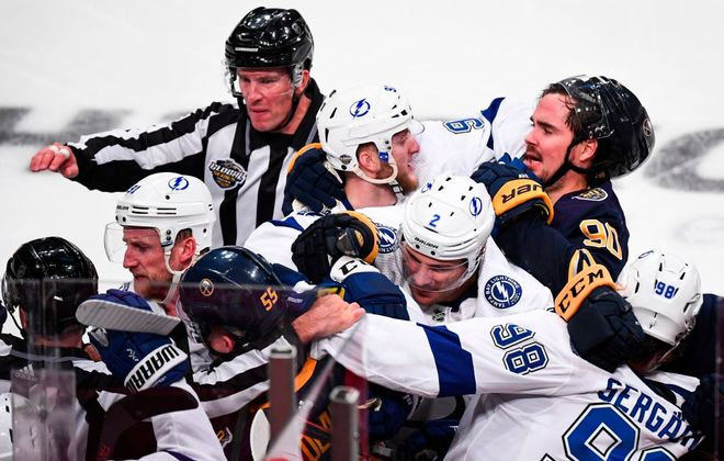Marcus Johansson (90) and Rasmus Ristolainen (55) were among the Sabres involved in a scrap with the Tampa Bay Lightning during the teams' Nov. 9 game in Stockholm. (Getty Images)