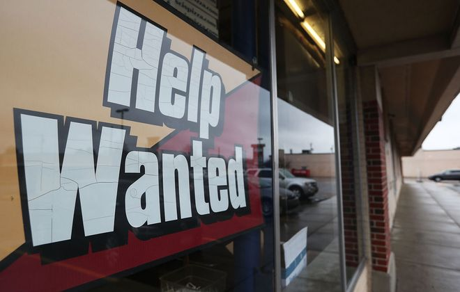 This sign in a pizzeria window could just as easily have been outside a manufacturing or health care employer having trouble filling job openings because too many applicants lack basic literacy skills. (Sharon Cantillon/New file photo)