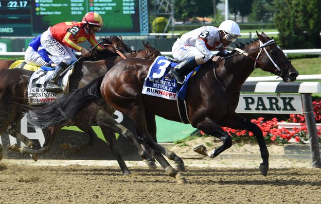 Mitole holding off McKinzie in the Metropolitan Mile at Belmont Park in June. Photo Credit: Brittlan Wall/NYRA