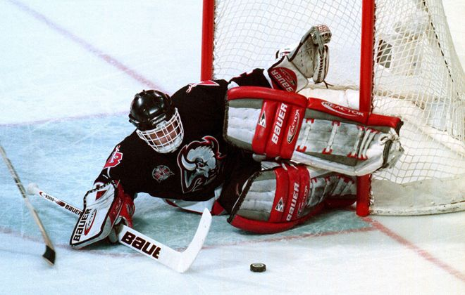 Sabres goalie Dominik Hasek makes a save in Game 1 of the Stanley Cups finals in Dallas in 1999. (James P. McCoy/News file photo)
