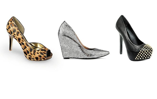 Styles for fall include his leopard print peep-toe pump, Style & Co., Macy's; the Call It Spring wedge pump ,jcp.com; and the studded Steve Madden pump.