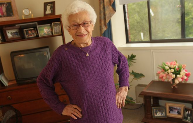 Sharon Cantillon/Buffalo News     Mary Chimera, 93, who performed the Heimlich maneuver on a fellow resident of her Amherst apartment building Saturday afternoon, says she doesn't consider herself a hero.