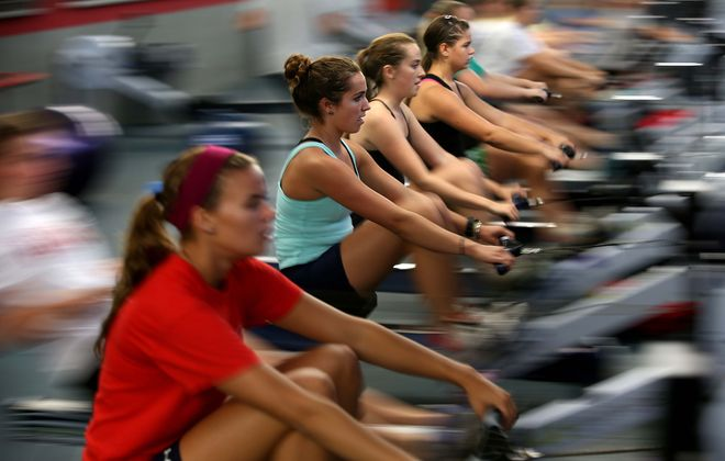 { FOR FEATURES-NEXT} High school members of the West Side Rowing Club work out on the rowing machines  on, Friday, Sept. 14, 2012.    This in the West Side Rowing gym.  {Photo by Robert Kirkham / Buffalo News}