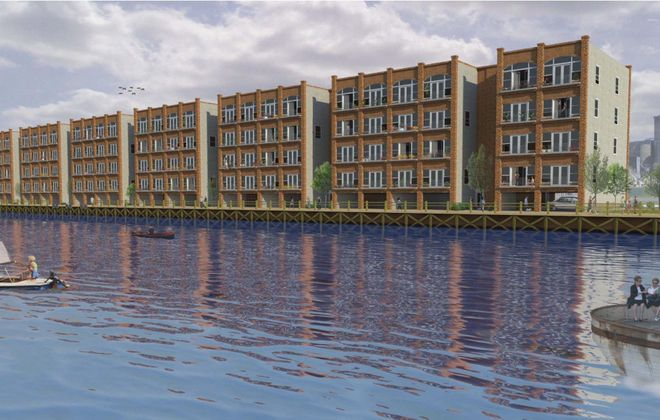 The proposed Buffalo River Lofts, shown in this artist rendering, would feature 1,900-square-foot, two-bedroom units with balconies overlooking the Buffalo River.
