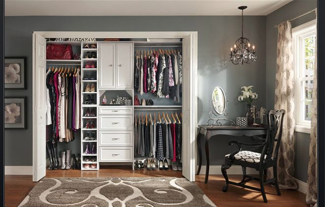 The customizable white laminate line, ClosetMaid Selectives, can be mounted to the wall or the floor.