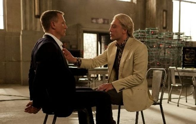 "Daniel Craig, left, returns as James Bond and Javier Bardem is archenemy Raoul Silva in ""Skyfall."""